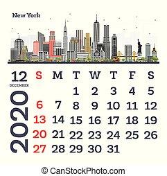 December 2020 Calendar Template with New York City Skyline.
