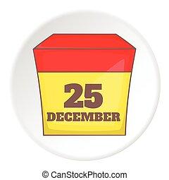 December 25 calendar icon, cartoon style