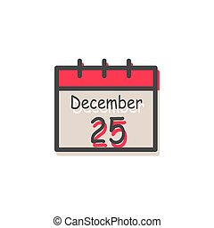December 25 Christmas Calendar Vector Illustration