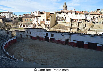December 27, 2013. Picturesque Bullring In Rubielos De Mora, Teruel, Aragon, Spain. Travel, Nature, Landscape, Vacation, Architecture.