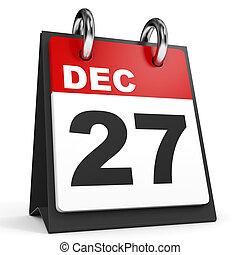December 27. Calendar on white background. 3D illustration.