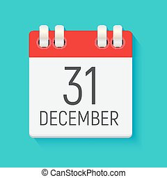 December 31 Calendar Daily Icon. Vector Illustration Emblem. Element of Design for Decoration Office Documents and Applications. Logo of Day, Date, Month and Holiday