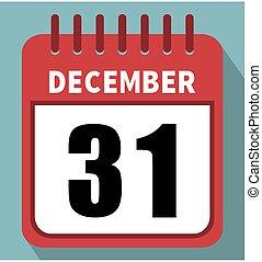 December 31. Calendar in flat design