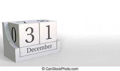 December 31 date on wood bricks calendar. 3D animation -...