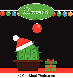 December banner with cactus and christmas gift box