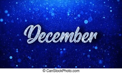 December Blue Text Wishes Particles Greetings, Invitation, ...