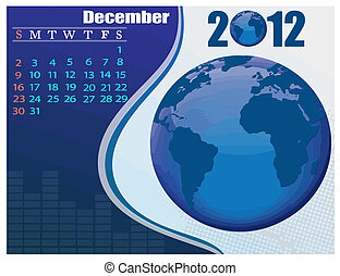 December - the Earth blue calendar for 2012, weeks starts on Sunday. Bussines Calendar.