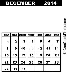 December calendar 2014 isolated
