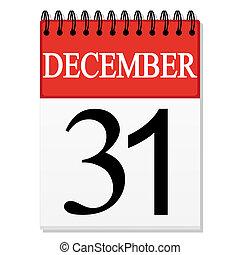 (december, calendrier, feuille, 31)