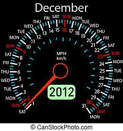december., car, ?alendar, vector., ano, velocímetro, 2012