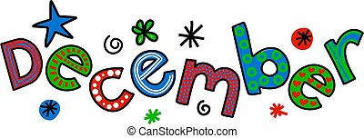 December Clip Art - Whimsical cartoon text doodle for the ...