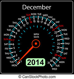 december., coche, vector., año, 2014, calendario, velocímetro