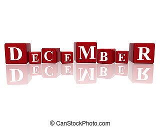 december in 3d cubes - 3d red cubes with letters makes...
