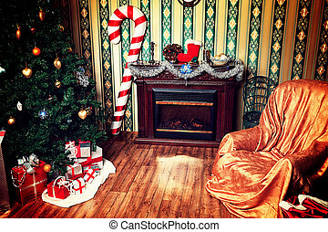 December interior - Christmas home decoration with tree,...