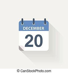 december, kalender, 20, pictogram