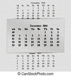 december, kalender, 2016, pagina's, maand