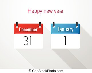 december, kalender, dik, januari