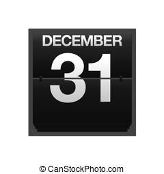 december, kalender, toonbank, 31.