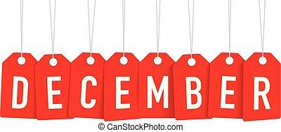 december, label, rood