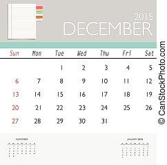 december., mensuel, calendrier, vecteur, il, gabarit, 2015,...