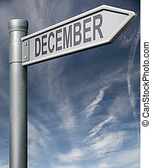 december road sign clipping path