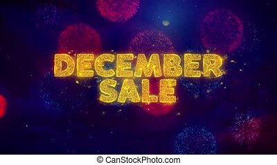December Sale Text on Colorful Ftirework Explosion Particles.