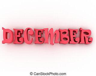 December sign with colour. 3d paper illustration.