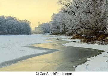 December sunset on the river