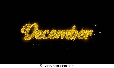December Typography Written with Golden Particles Sparks...
