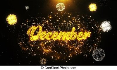 December Wishes Greetings card, Invitation, Celebration Firework Looped