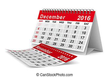 december., wizerunek, odizolowany, calendar., rok, 2016, 3d