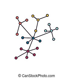 Decentralization icon, cartoon style