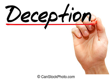 Deception - Hand writing deception with marker, business...