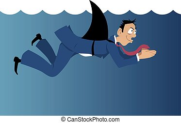 Deception in business - Insidious businessman with a shark...