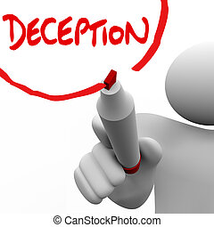 Deception Man Writing Word Lying Dishonesty Insincerity - A...