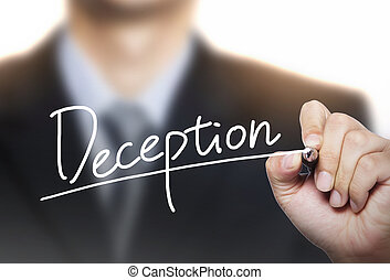deception written by hand, hand writing on transparent board...