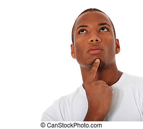 Decide - Attractive black man deliberates a decision. All on...