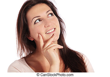 Decide - Attractive young woman deliberates a decision. All...
