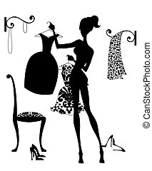Deciding What to Wear - Silhouette fashion illustration of a...