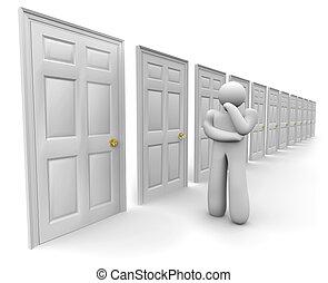 decidir, puerta, elegir