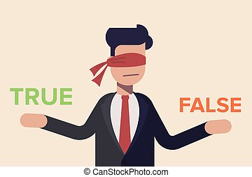 decidir, seu, olho, apartamento, luz, false., isolado, ou, experiência., vetorial, fita, homem negócios, illusration, verdadeiro, caricatura, vermelho