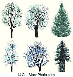 Deciduous and coniferous trees set. Christmas trees