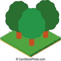 Deciduous forest icon, isometric style