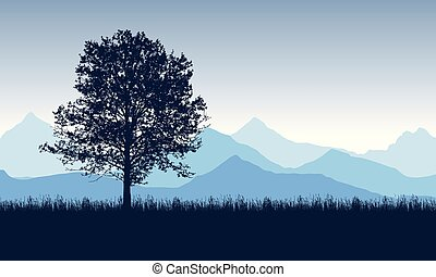 Deciduous tree on the grass with blue mountains in the background, under the morning sky