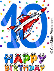 decimo, compleanno, disegno, cartone animato