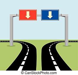 decisão, conceito, sinal estrada