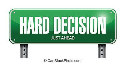 decisão, difícil, ilustração, sinal, desenho, estrada