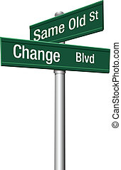 decisão, escolher, mesmo, antigas, rua, ou, mudança
