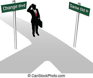 decisão, mesmo, pessoa, escolher, ou, mudança