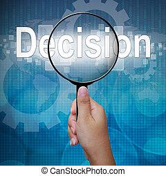decisão, palavra, vidro, fundo, magnificar